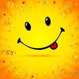 Smile on confetti and ribbon yellow background Royalty Free Stock Photos