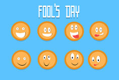 Smile Cracker Cookies Cartoon Faces Set Fool Day April Royalty Free Stock Images
