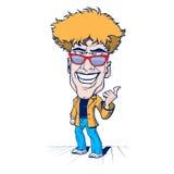 Smile crazy man. Cartoon smile crazy man with the sunglasses Stock Image