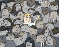 A smile in a crowd. Illustration of the person standing out of the crowd with his ability to feel the joy of life vector illustration