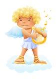 Smile cupid playing lyre. Illustration isolated on white background Stock Photos