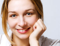 Smile of cute fresh woman with clean skin Stock Photography