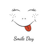 Smile day symbol character smiley face red tongue. Smile day symbol element. Cartoon character smiley face with red sticky tongue, nose, freckles and wink eyes Stock Images