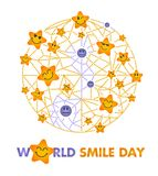 Smile Day white background. Greeting card. Holiday - World Smile Day on a white background. concept of charging the smile of the whole world stock illustration