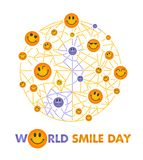 Smile Day white background. Greeting card. Holiday - World Smile Day on a white background. concept of charging the smile of the whole world Royalty Free Stock Photos