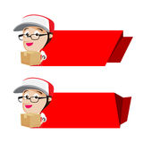 Smile delivery holding box packing with red banner, vector illus Stock Images