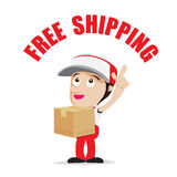 Smile delivery man handling the box and package delivery cartoon Stock Photos