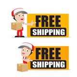 Smile delivery man handling the box and package delivery cartoon Royalty Free Stock Photos