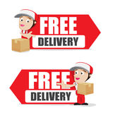 Smile delivery man handling the box and package delivery cartoon Stock Image