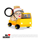 Smile delivery man with magnifier in hand, truck and package del Stock Photos
