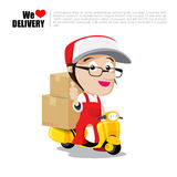 Smile delivery man on scooter, motorcycle and package delivery c Stock Photo