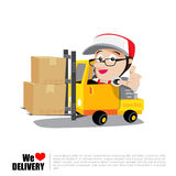 Smile delivery man thumb up on forklift truck , and package deli. Very cartoon vector illustration Stock Photo