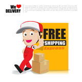 Smile delivery man thumb up with text sign free shipping cartoon Royalty Free Stock Images