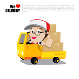 Smile delivery man thumb up on truck , and package delivery cart Stock Images