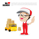 Smile delivery man thumb up on truck , and package delivery cart Stock Photos