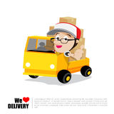 Smile delivery man thumb up on truck , and package delivery cart. Oon vector illustration eps10 Stock Images