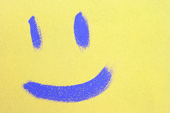 The smile is drawn with paint on the wall Royalty Free Stock Images