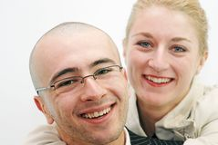 Smile duo. Young couple smiling close up Royalty Free Stock Photo