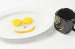 Smile Eggs and Ceramic Glass Royalty Free Stock Images