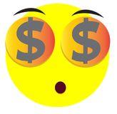Smile emoji face icon with dollar sing. Smile emoji face icon symbol with yellow color Stock Photography