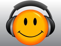 Smile Emoticon with headset Stock Photos
