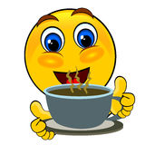 Smile emoticons drink. Ing tea isolated Royalty Free Stock Image