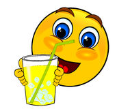 Smile emoticons drink ice. Smile emoticons drinking ice lemonade isolated Royalty Free Stock Photo