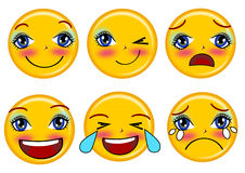 Smile emoticons set. Collection emotion isolated Royalty Free Stock Photos