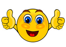 Smile emoticons thumbs up. Isolated