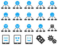 Smile, emotion, relations and tablet icons Stock Photography