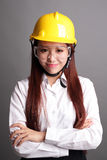 Smile engineer woman. Isolated on gray background. asian royalty free stock images
