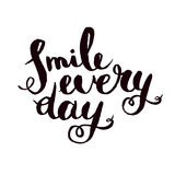 Smile every day. Inspirational monochrom quote poster. Royalty Free Stock Photo