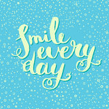 Smile every day. Inspirational quote poster. Stock Photo