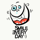 Smile Every Day Slogan. Funky Vector Illustration Stock Photo