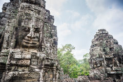 Smile face in Angkor Thom, Siem Reap, Cambodia Royalty Free Stock Photos