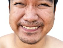 Smile face of asian man on white backgroun. Detail smile face of asian man on white backgroun stock images