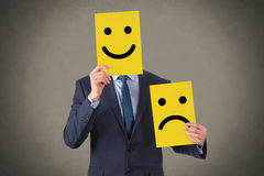 Smile Face Drawing on Yellow Cardboard. Working Conceptual Business Concept royalty free stock images