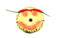 Smile Face of Emotion image made ​​from mix fruits. Stock Photography