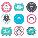 Smile face icon. Smiley with hairstyle symbol. Label and badge templates. Smile face sign icon. Happy smiley with hairstyle chat symbol. Retro style banners vector illustration