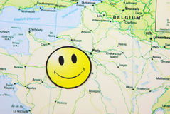 Smile face on a map. Smile face on France map Royalty Free Stock Photo