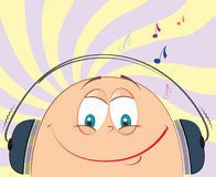 Smile face and music . Vector cartoons face .Symbol of music fun Stock Images