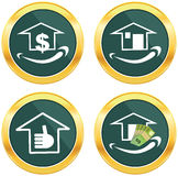 Smile face sign icon. Happy smiley home, investment. Stock Photography