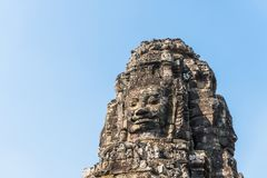 Smile face stone at bayon in angkor thom siem reap cambodia Stock Images