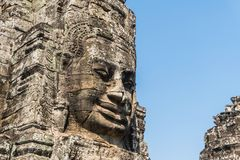 Smile face stone bayon temple in angkor thom siem reap cambodia Royalty Free Stock Photography