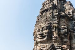 Smile face stone bayon temple in angkor thom siem reap cambodia Stock Photography