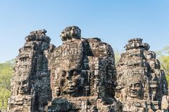 Smile face stone at bayon temple in angkor thom siem reap cambodia Stock Image