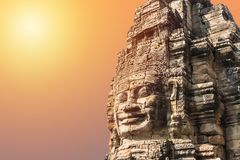 Smile face stone at bayon temple in angkor thom siem reap cambodia Stock Images