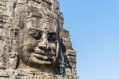 Smile face stone at bayon temple in angkor thom siem reap cambodia Royalty Free Stock Images
