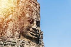 Smile face stone at bayon temple in angkor thom siem reap cambodia Royalty Free Stock Photos