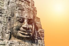 Smile face stone at bayon temple in angkor thom siem reap cambodia Stock Photography